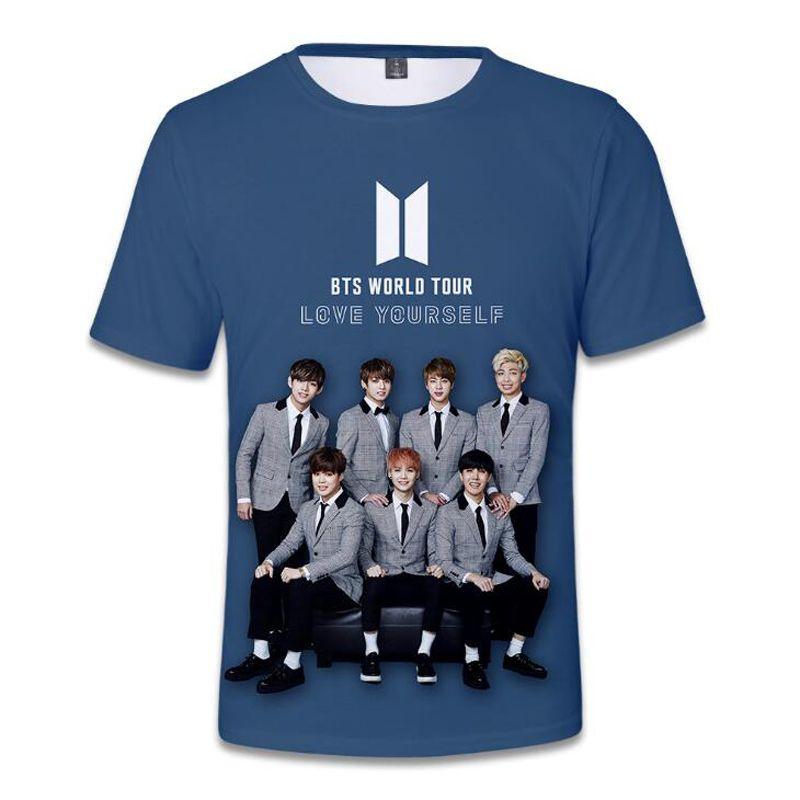 7c837b08c0 KPOP BTS Bangtan Boys LOVE YOURSELF World Tour 3D T Shirt Women Men Summer  Korean Fashion O Neck Short Sleeve Hip Hop T Shirt Make T Shirts Shirt  Designs ...