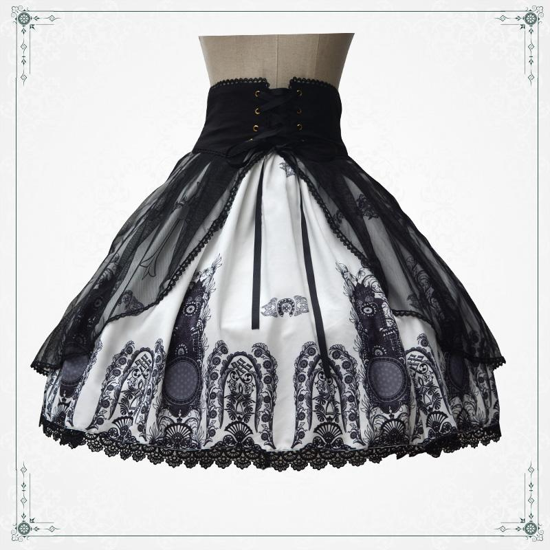 e44318014 ... Church Pattern Black & White Double Layers Skirt Lolita SK Cross Tie  Elastic Waist Cute Big Hem Skirt Best Group Halloween Costumes For Adults  Dress ...