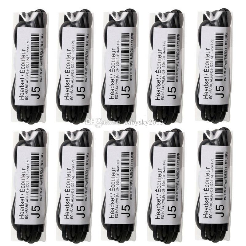 A + J5 Auriculares estéreo 3.5mm Auriculares planos con micrófono Auriculares Auriculares con micrófono y control remoto para Samsung Galaxy S3 S4 S5 S6 Nota 2 3 4