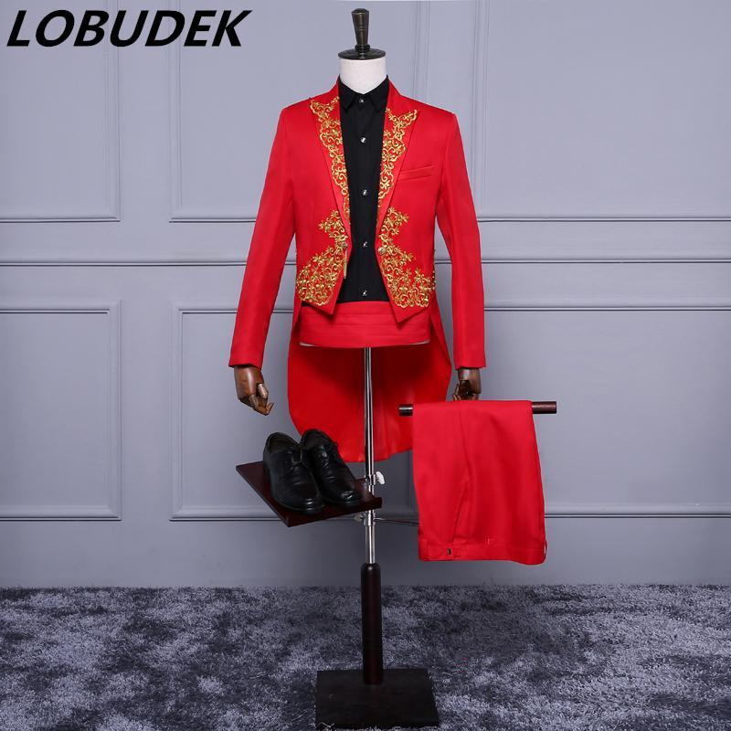 jacket+pants Male suit men singer costume embroidery tuxedo tailcoat Swallowtail blazer Magician host prom show stage wear