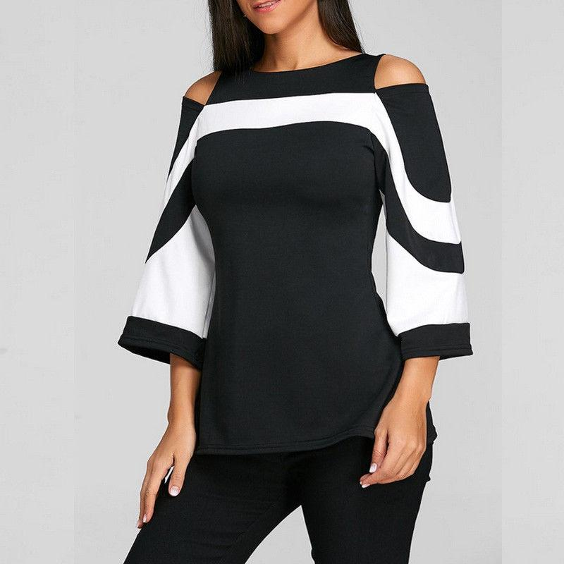 942ef1e7bafd5f 2019 Plus Size XXL Women Black White Colorblock Flare Sleeve Shirt Cold  Shoulder Top Mujer Camisa Feminina Blusas Ladies Clothes Tops From  Edward03, ...