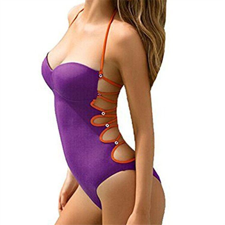 Yeni Seksi Monokini Bikini Mayo Kadınlar One Piece Mayo Tankini Mayo Beachwear Geri Plaj Sandalet için Çok halat Bikini
