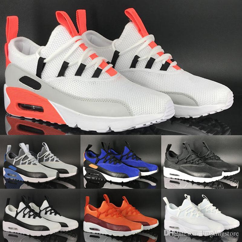 sneakers for cheap 39283 e01a6 Compre Nike Air Max 90 EZ Nuevo 2018 90 EZ A Pedal Mesh Transpirable Cómodo  Calzado Deportivo Para Alta Calidad Azul Oscuro Gris Blanco Negro Deportivo  ...