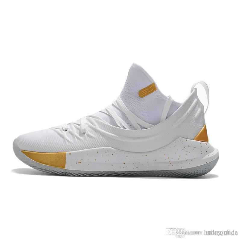 6f6754a0e167 Cheap 2018 new Stephen Curry 5 basketball shoes for Men White Gold Pack  Championship 13 Colorways