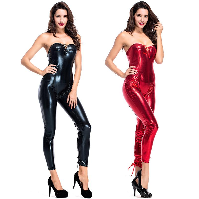 eb5215a13a 2019 New Fashion Faux Leather Skinny Tube Top Jumpsuit Chest Straps Leg  Cross Straps Jumpsuit Sexy Nightclubs Play Catwoman Jumpsuit From  Fetishqueen