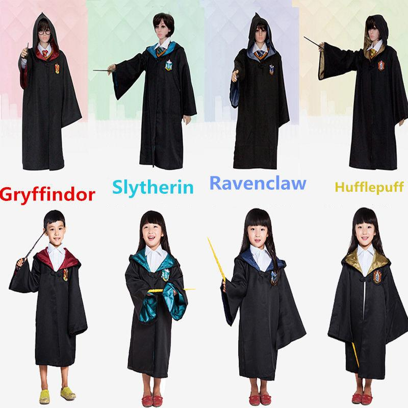 New Harry Potter Robe Gryffindor Cosplay Costume Kids Adult Harry Potter Robe Cloak Halloween Costumes For Kids Adult GGA454 25pcs