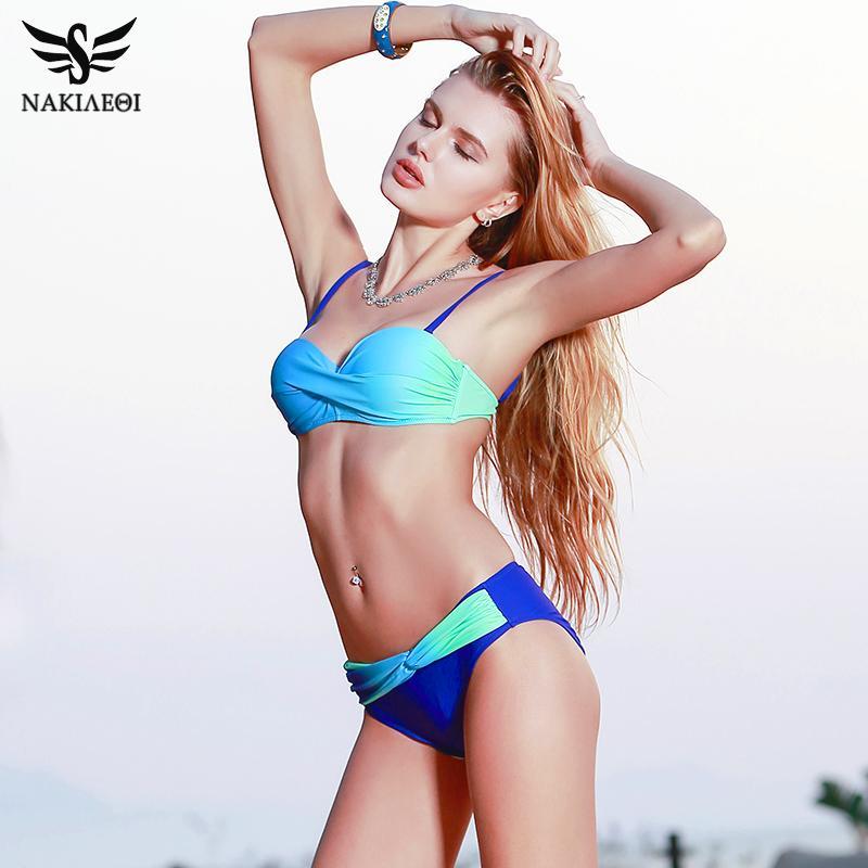 5665f9a05b 2018 Sexy Bikini Push Up Swimwear Women Swimsuit Bandeau Gradient Color  Brazilian Bikini Set Beachwear Bathing Suits Women Swimsuit Bikinis Set  Beachwear ...