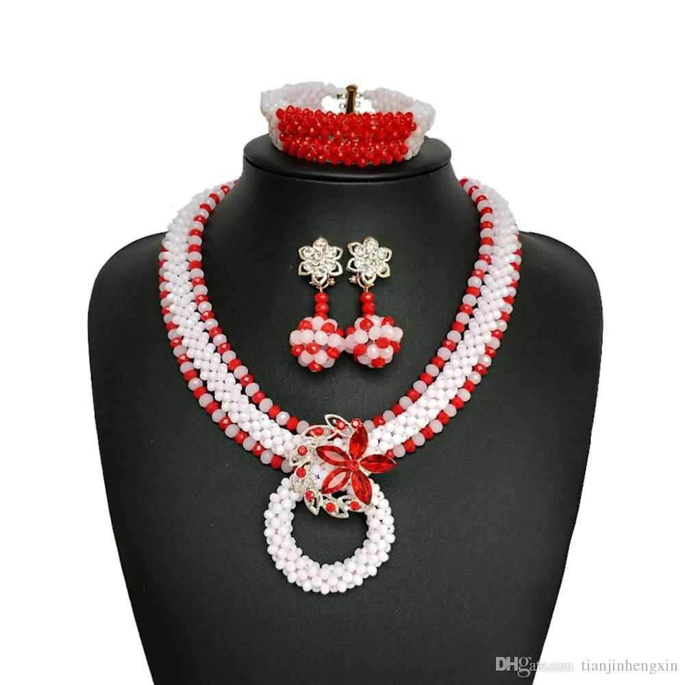1f06fa464d5c2 Handmade red White Women African Beads Jewelry Set Popular Nigerian Wedding  Beads African Crystal Beaded Necklace SH312-12