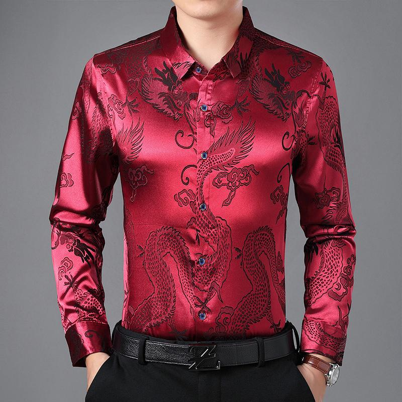 82aedb17d115 2019 Summer Autumn Winter Embroidery Dragon Office Slim Satin Silk Blouse  Plus Size Oversized Fashion Tee Shirt Men Top From Fangfen