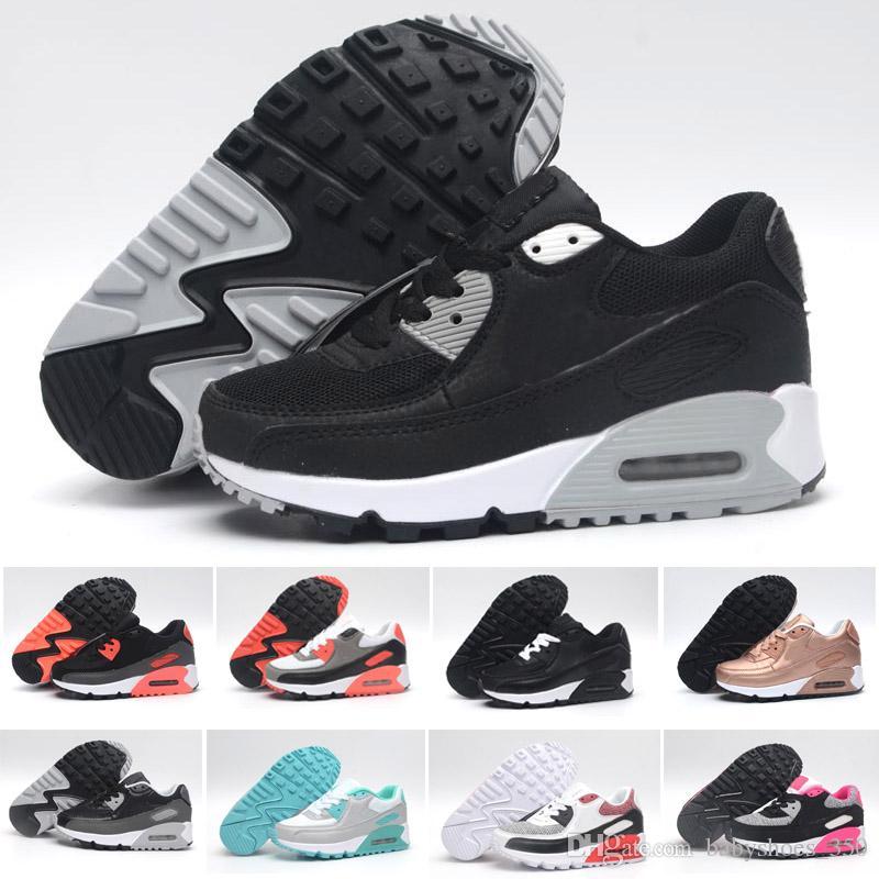 the latest 7da8c ed8f1 Acheter 2018 Nike Air Max 90 Enfants Mode Respirant Classique 90 Chaussures  En Cuir Avec 8 Couleurs Enfants Bonne Qualité Chaussures Pour Garçons  Livraison ...