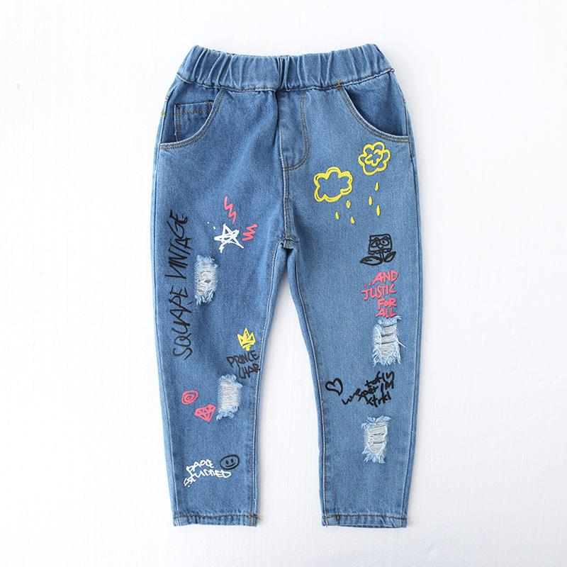 2017 New Kids Girls Jeans Pants Fashion Holed Denim Trousers for Baby Girls Pants Ripped Cartoon Pattern Jeans Children Clothing