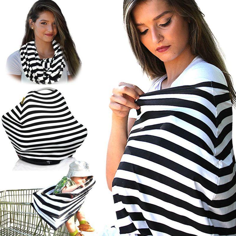 22 farben Mehrzweck Stretchy Baby Stillen Privatsphäre Abdeckung Schal Decke Streifen Unendlichkeit Schal Kinderstuhl Autositzbezug Pflege C