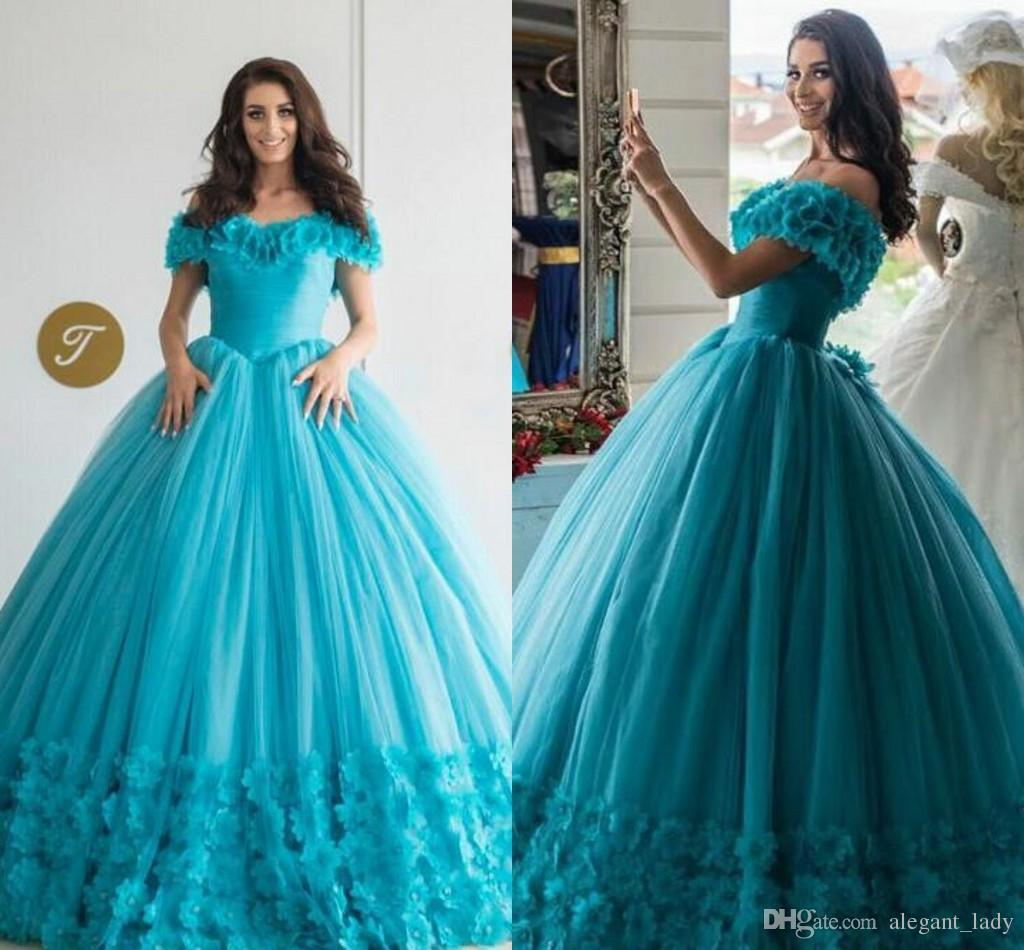 2018 Ball Gown Quinceanera Dresses Luxury Modest 3D Floral Off Shoulder Puffy Skirt Corset sweet girsl 15 16 Masquerade Party Dress