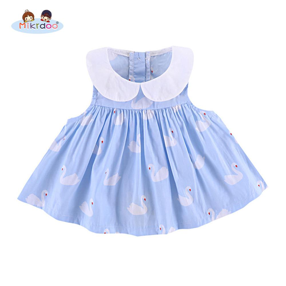 a43e944dc64df Newborn baby girls summer cute dresses blue swan print peter pan collar  sleeveless dress holiday clothes