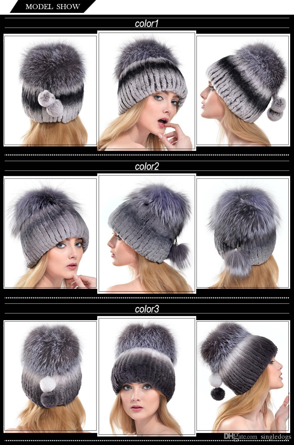 fb88c10fe8f Wholesale 2018 QUEENFUR Women Fashion Real Rex Rabbit Fur Hat With Silver  Fox Fur Big Pom Poms Beanies Winter Warm Thick Rabbit Fur Caps Baseball Hat  Beach ...