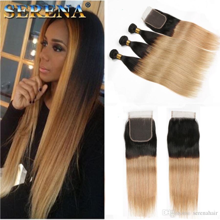 Brazilian Human Omber hairs 1B 27 Straight 3Pcs Ombre Human Hair Weaving Ombre Hair Extensions Brazilian Hair 3 Bundles With Closure