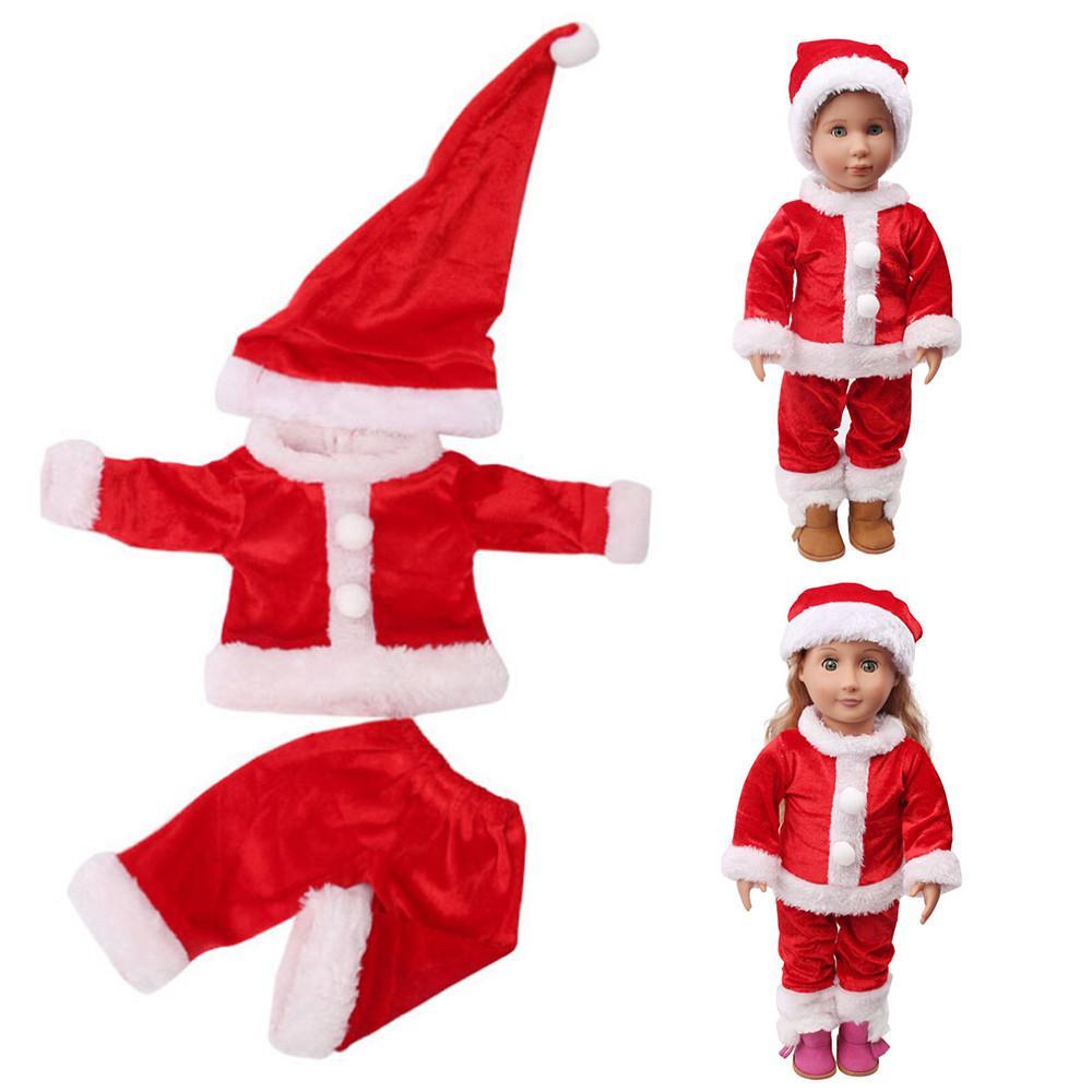 95400547eeb35 Acheter 2019 Bébé Né Vêtements De Noël Robe Chapeau Pour 18 Pouces  Américain Fille Poupée Accessoire Fille Jouet Cadeau De Noël Poupée  Accessoires #VE De ...