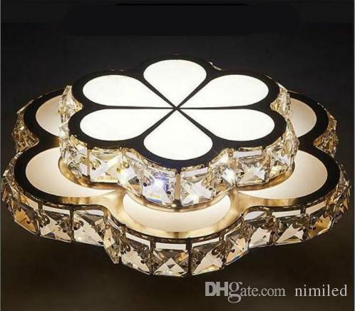Dorado Corredor Flor Iluminacion Llfa Dormitorio Luz Techo Abajour Lámparas Led Luminaria Lustre Cristal Plafonnier Lampe Moderno qUpMzVLGS