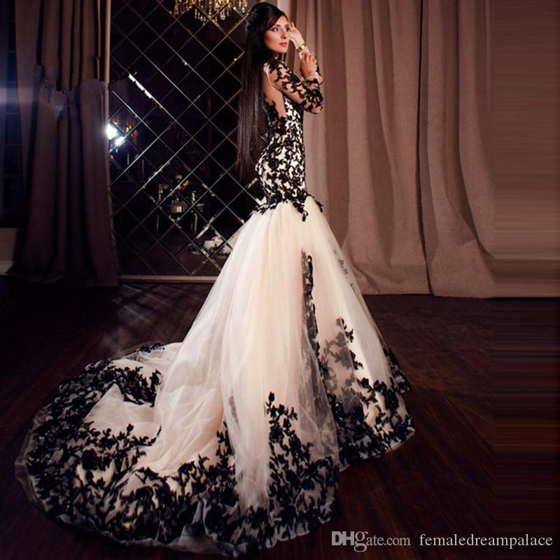 2018 On Sale Black Lace Appliques Evening Dresses With Long Sleeves Custom  Mermaid Prom Gowns Women Formal Dress Vintage Style Evening Dresses 1920  Evening ... ee1d719d3