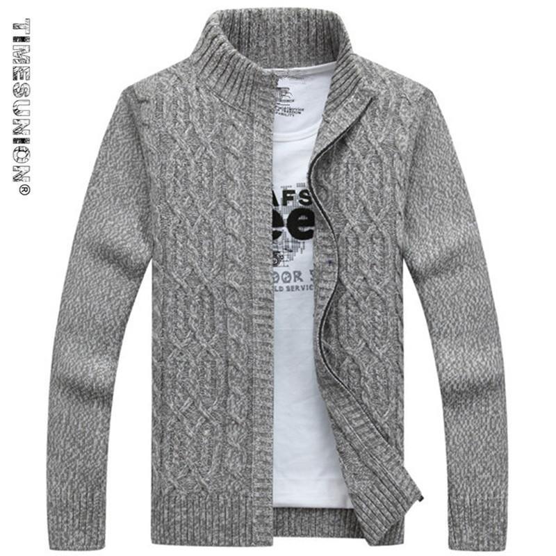 TIMESUNION Marke Mann Pullover Lässig Herren Strickjacke dicken  Kaschmirpullover Oberbekleidung Winter Grau Blau S1015 13942235cc