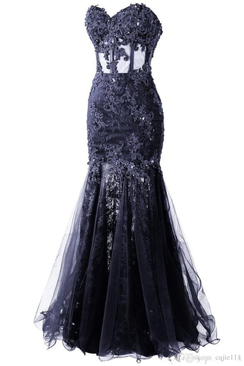2019 New Sexy Tulle Sleeveless Dress Formal Pageant Cheap Sweetheart Long Mermaid Evening Dress Vestido De Festa