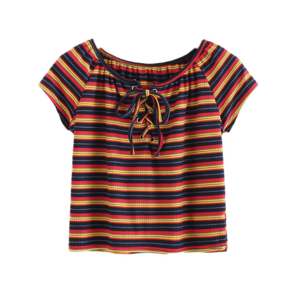 aa3978977 Colorful Striped T Shirts Fashion Women Tied O Neck Casual Tops Girls Short  Sleeve Summer Tee Roupas Feminina #10 Cartoon T Shirts Urban T Shirts From  ...