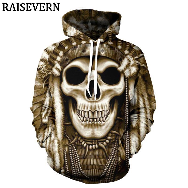 f460d65ab2bd 2019 Golden Chief Skull 3D Hoodies Sweatshirts Ghost Hoody Pullover Autumn  Tracksuit Men Women Hooded Tops Jumper Streetwear EUR From Meicloth