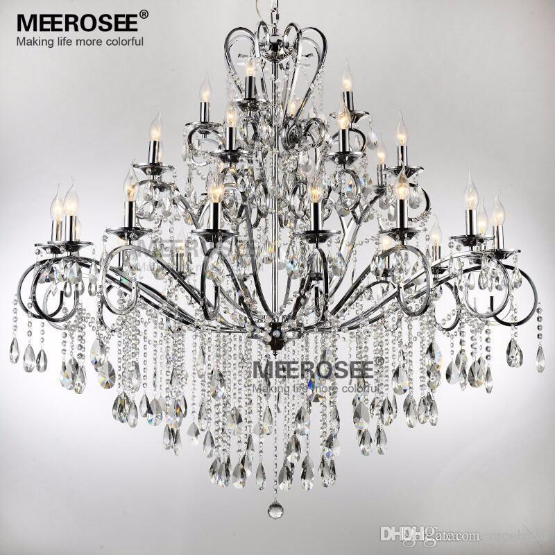 huge selection of 7e64c 83d0a Large 28 Arms Wrought Iron Chandelier Crystal Light Fixture Chrome Lustre  De Sala Crystal Hanging Lamp for foyer villa