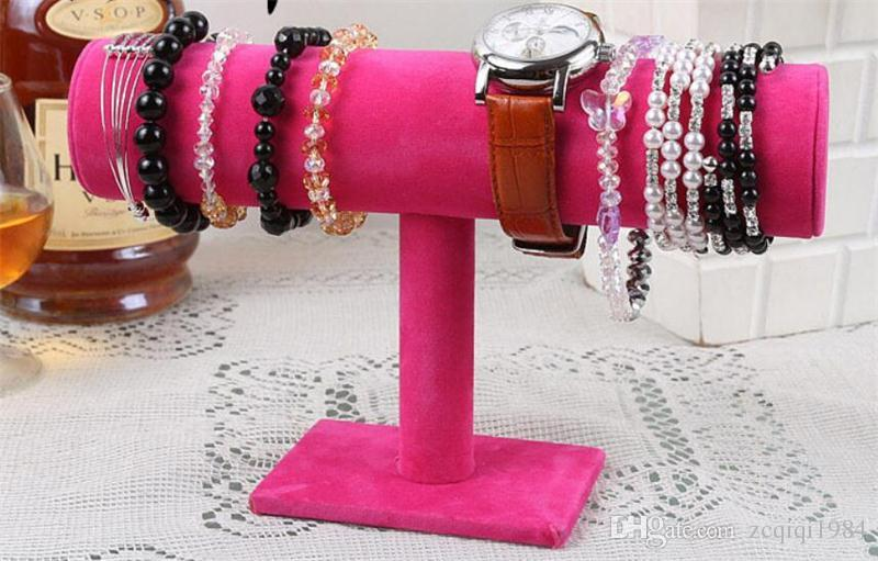 White Pu Blcak Velvet Jewelry Display Stand Bracelet Bangle Chain Watch Jewelry Display Stand Holder T-bar Rack