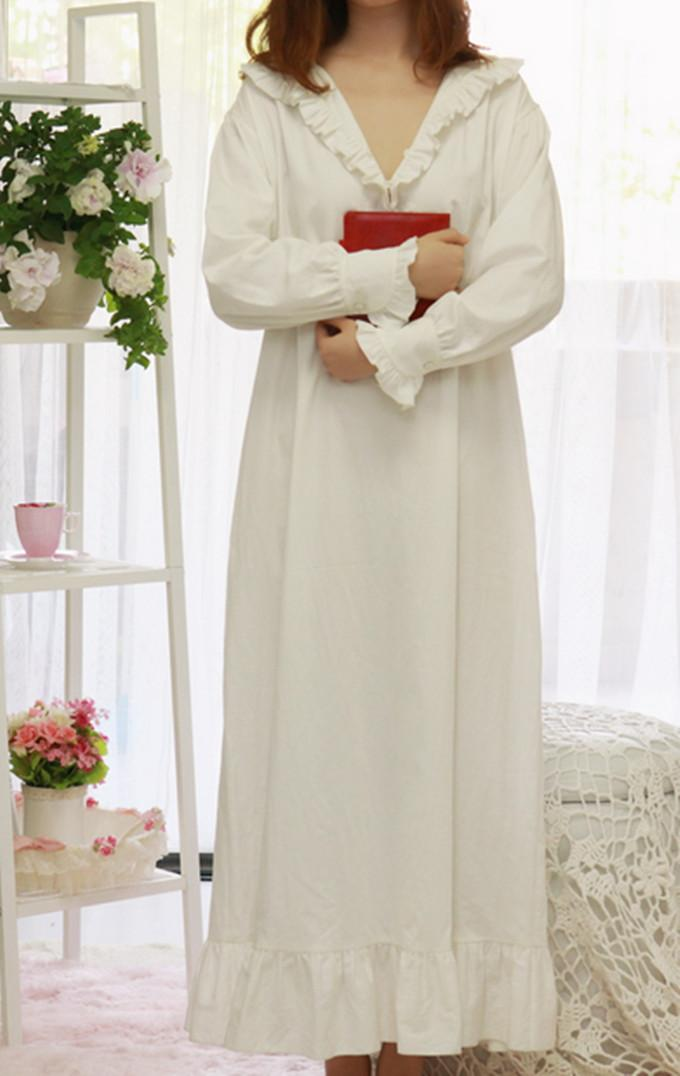7e441237a9 2019 Women SLeepwear Cotton Nightgown Casual Sleepwear Ladies Royal Vintage  Night Wear White Nightdress Comfortable Clothes For Bed From Zhusa