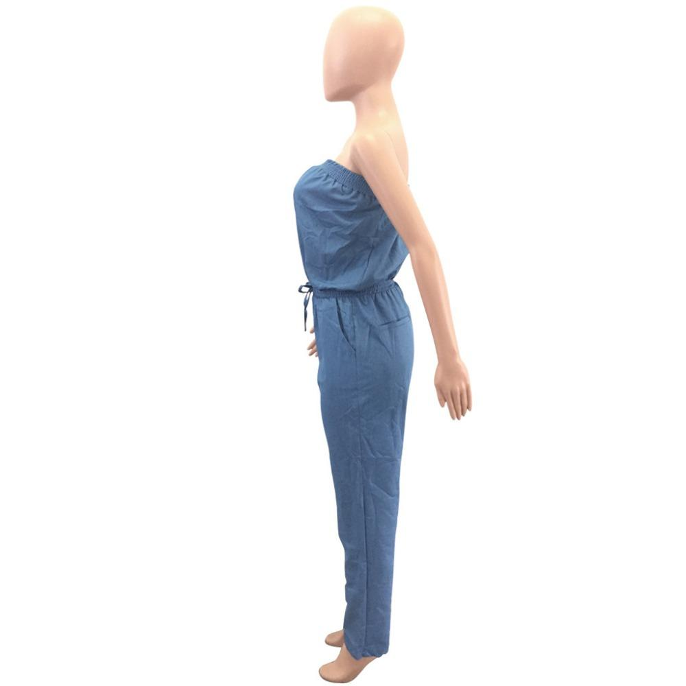 ZJFZML 2018 New fashion high quality casual jumpsuit women strapless denim romper sexy off shoulder drawstring long jumpsuit