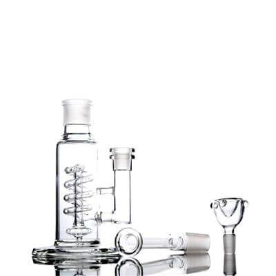 Wholesale Small Bubbler Pipe Portable Spiral Coil Perc Clear Glass Unique Cheap Dab Bong for Sale