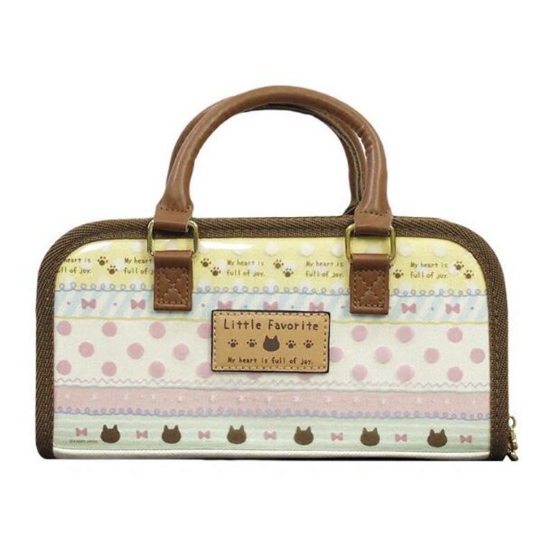 Japan Retro Canvas Sewing Handbag Bag Little Favorite Bow Full Of Joy Carry  Case with Pocket Craft Storage 24x12x7 5cm