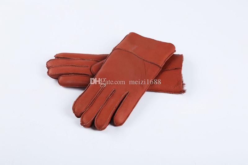 Ücretsiz Kargo - Klasik kalite parlak deri bayan deri eldiven kadın yün eldiven% 100 kalite garantisi