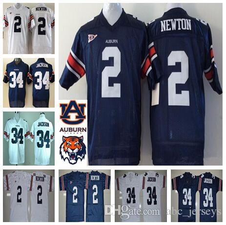 separation shoes 1ca8f 50193 Mens Auburn jersey 2 Cam Newton 34 Bo Jackson Navy Blue White NCAA College  Football Jerseys