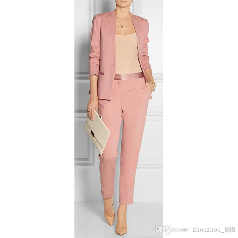 849c9b6285eb Acquista Vestito Rosa A Due Pezzi Vestito Da Ufficio Formale Da Uomo Vestito  Da Donna Formale Slim Giacca + Pantaloni A $98.5 Dal Zhouzhou_888 | DHgate. Com