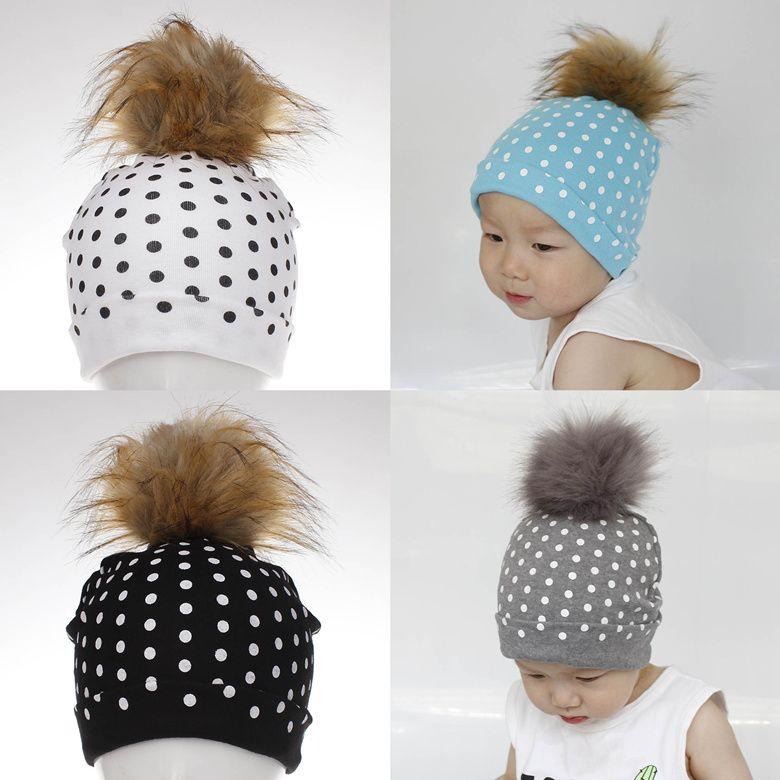 ce3d09dddca 2019 Baby Hat Newborn Baby Dot Baby Boy Cap Cotton Printing Big Pompom Ball  Bobble Hat For Girls Autumn Winter Children S Hats Caps LE119 From  Makeup11