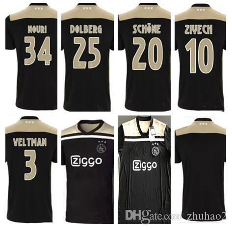 06507a37e49 2019 Thai Quality New 18 19 Ajax FC Away Soccer Jersey 2018 KLAASSEN MILIK  NOURI DOLBERG ZIYECH Home Football Shirts Size S XL From Zhuhao2, $14.5    DHgate.