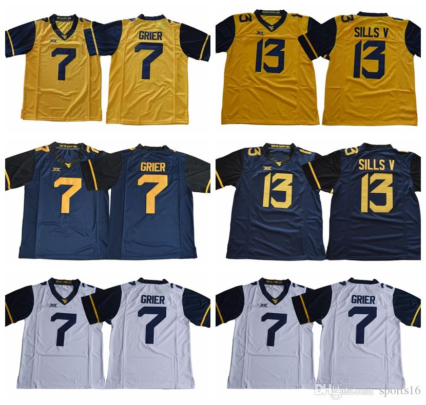 ... sweden ncaa west virginia mountaineers 13 david sills v 7 will grier  blank white blue yellow 997392cc6
