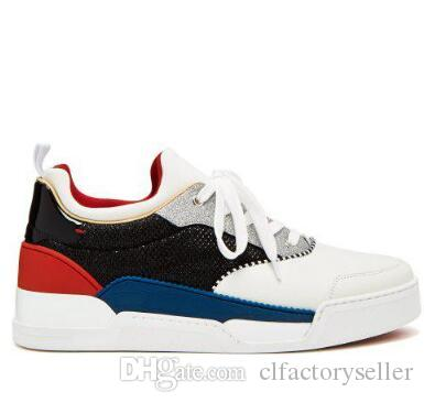 ae5f2931a66 Brand Designer Sports Sneakers Red Bottom Men's Aurelien Low-top  Leather/Suede Trainers Genune Leather Lace-up Wedding Party Dress