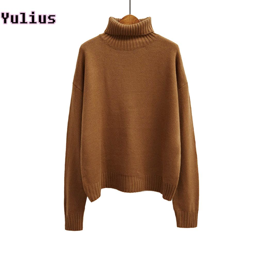 033e98e2a5a 2019 2018 Korean Autumn And Winter Women Sweater Long Sleeve Turtleneck  Knitted Pullover Brown Green Loose Solid Female Jumper Tops S18100801 From  Jinmei01