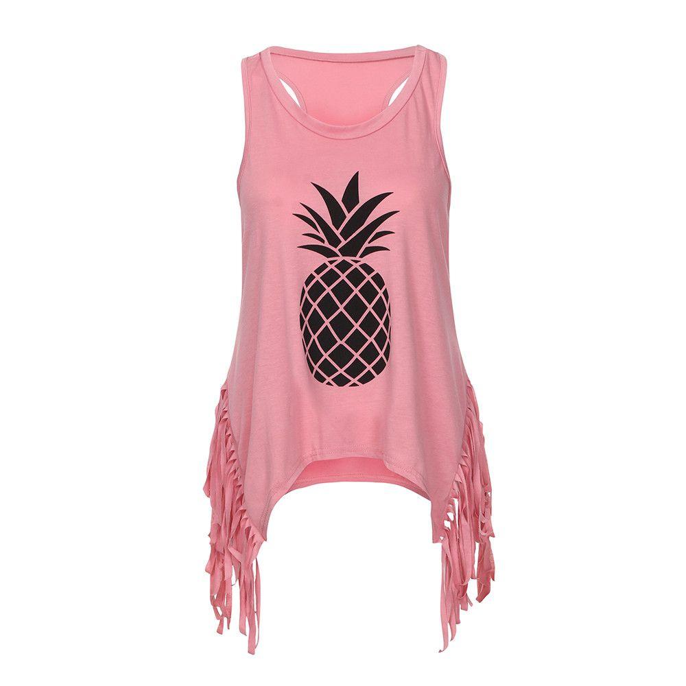 602090ca3dd Women Vest Tank Top Summer Pineapple Sleeveless Broadcloth Shirt ...