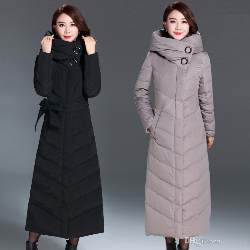 302ecc8561d Compre Chaquetas De Invierno Para Mujer Largo Pato Abajo Parkas Abrigos De  Nieve Con Capucha X Largo Outwear Abrigo Caliente Tops 2018 Envío Gratis  Alta ...