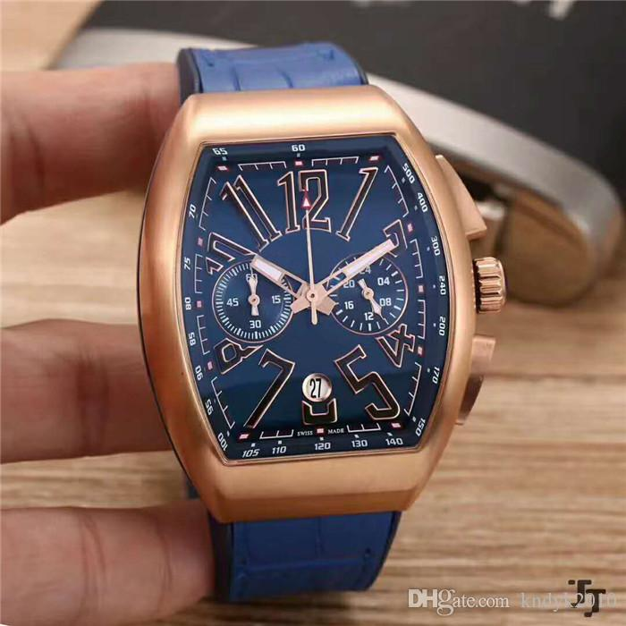 Fashion Brand Classic Japan VK Quartz Mineralized steel glass surface 904L Stainless Steel Case Leather strap+Pin buckle Men watch