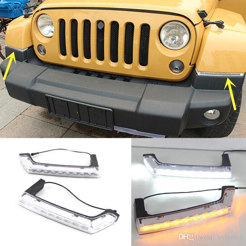 For Jeep Wrangler 2007 2016 Car White Turn Yellow Led Daytime Running Light Drl Fog Driving