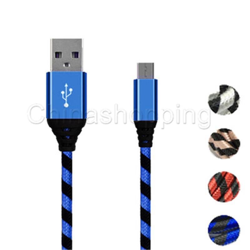 0.25m 1m 2m 3m Micro USB Charger Data Cable Braid Cord Cable For Samsung S8 Plus Mobile Phone