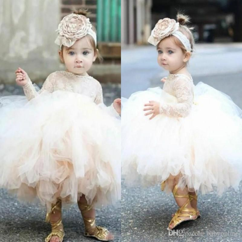 f396f0785c9 2018 Cute Toddler Puffy Ball Gown Flower Girl Dresses Lace Top Bodice Long  Sleeves Tulle Ivory Tutu First Communion Dresses BA9071 Easter Dress Flower  Girl ...
