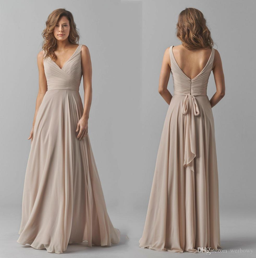 8fde8ad54a80 Taupe A Line Princess V Neck Sleeveless Floor Length Chiffon Bridesmaid  Dress With Ruffle Wedding Party Dresses Custom Made Plus Size HY360 Evening  Gowns ...