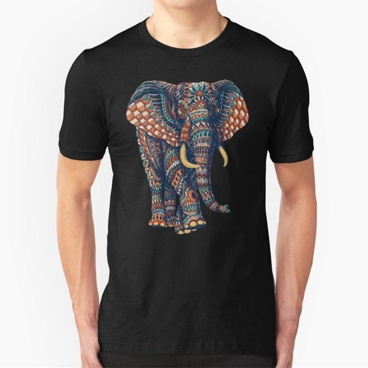 d500c5bbe9a29 Shirt Maker Short Men Graphic Crew Neck Fashion Men Summer Ornate Elephant  Printed Short Sleeve Black T Shirt Top Tees T Shirts Crazy Tee Shirts  Novelty T ...