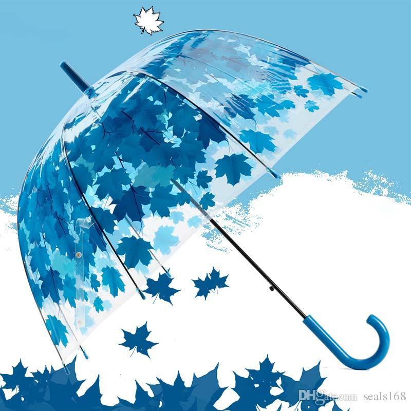 I più nuovi ombrelli trasparenti del fungo del PVC si sono stampati le foglie stampate verdi della pioggia chiaro dell'ombrello della bolla Trasporto libero XL-189